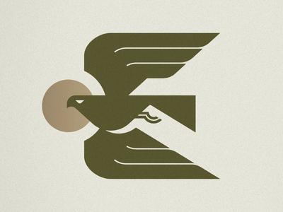 E is for Eagle minimal bird mark icon logo e letter sun hawk eagle