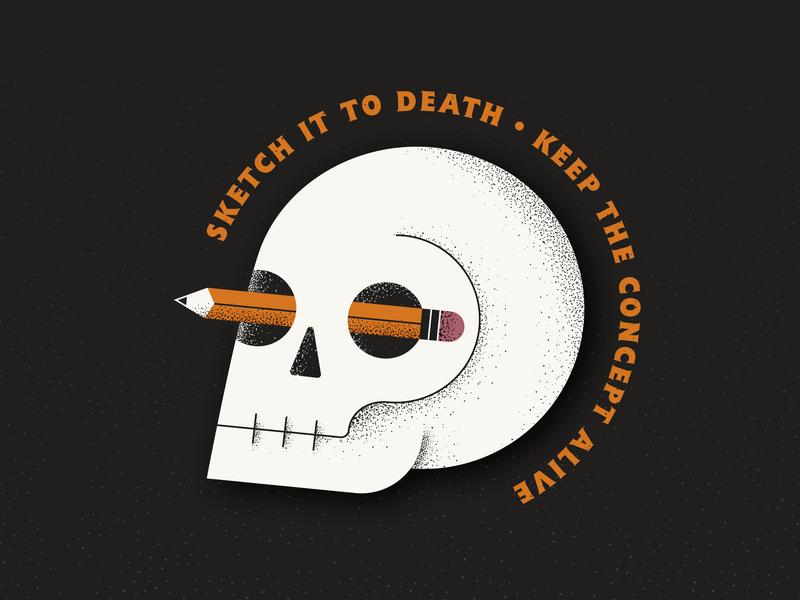 Sketch It To Death grain texture flat pencil skull art skull texture vector illustration icon logo design logo