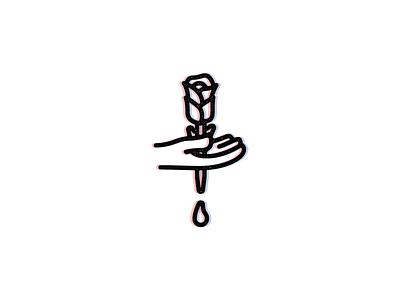 Stab // B flash work linework line illustrator stab hand rose bold blood