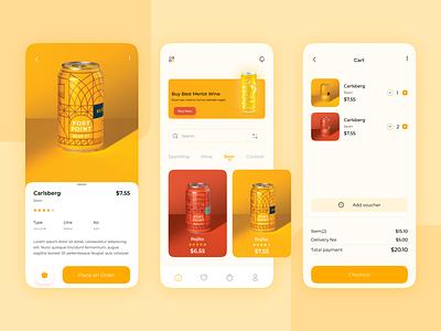 Alcohol Delivery Mobile App UI Design e commerce app ui design 3d shop app design e commerch app e commech appui ux app design delivery mobile app ui ux food delivery app mobile app ux ui alcohol app ui ui
