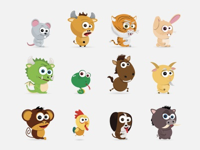 12 Zodiac Animals chinese cute cartoon characters astrology animal zodiac