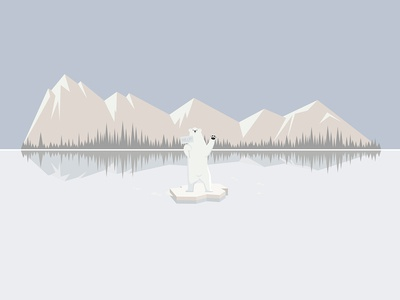 Loneliness of a polar bear