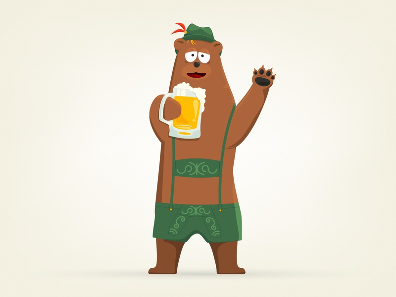 German Bear Drinking a Glass of Beer