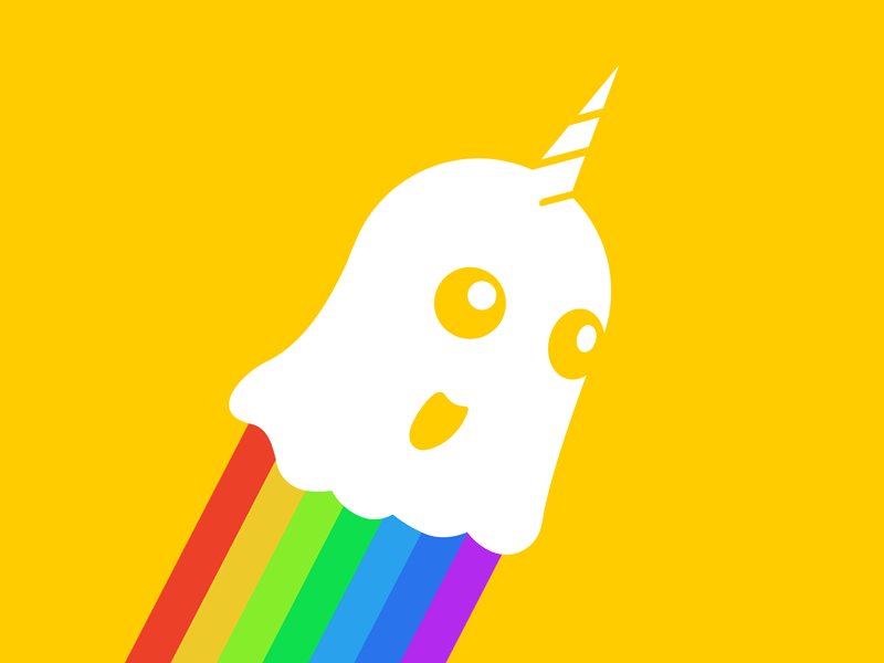 You have won the Internet! yellow white flying unicorn rainbow ghost logo