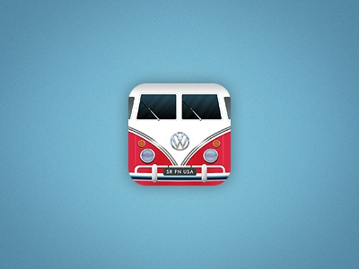 VW Bulli iOS Icon rework ios iphone icon bulli vw transporter t1 blue red