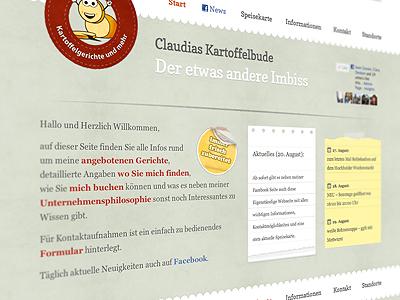 Kartoffelbude is finally online! food website one page menu book potato