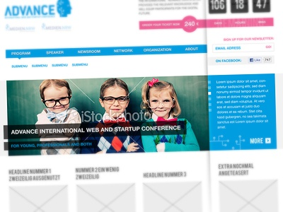 Advance Conference blue magenta white clean grid adance conference