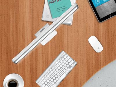 Desk in Footer desk wood ipad apple mouse keyboard web design footer coffee app