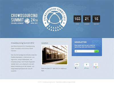 Crowdsourcing Summit 2012 crowdsourcing summit event website blue countdown