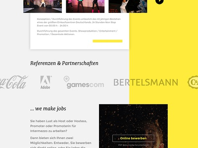 Event Website Facelift columns gallery slider cta sponsors yellow tradefair events