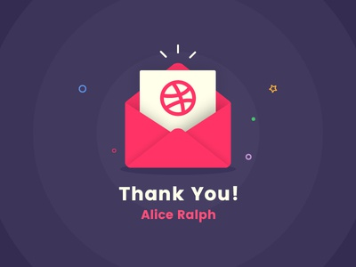 My first shot - Thanks Alice debut prospect illustration  flat gift message dribbble invite draft thanks first shot invite