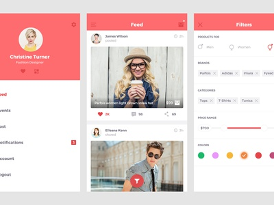 Free Ecommerce UI Kit wall flat clean social filters feed menu kit ui psd ecommerce free