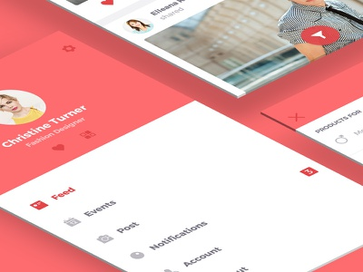 A rebound of 'Free Ecommerce UI Kit' wall flat bucket clean red social filters feed menu psd ecommerce free