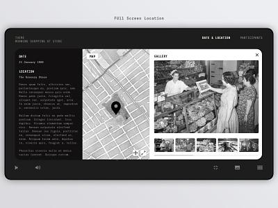 12. Date & Location - Full Screen • DAU Cinema • Concept sleek black dark film movie gallery map stamen maps location web design web design ux ui