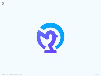 Bird Mark global learning learn lightbulb light birdlogo bird logodesign design logo 3whales