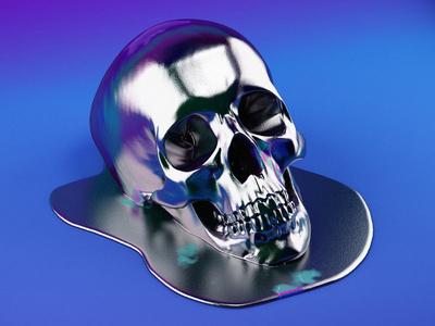 Melting Skull illustration design character 3d