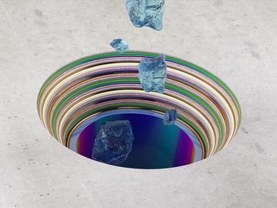 Crystal Rocks blue illustration design 3d