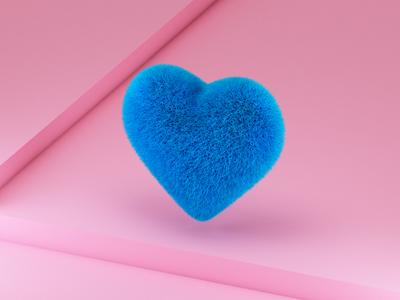Fluffy Heart color illustration design 3d