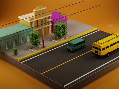 Road Trip color illustration design 3d
