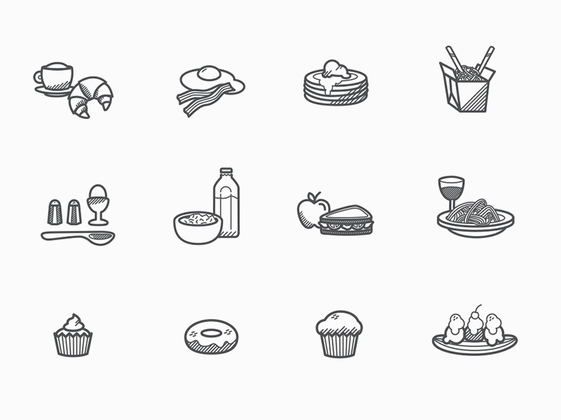 Free Foody Icons  food set freebie vector illustration icon