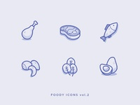 Foody Icons vol.2 illustration vegetable fish meat food vector icon