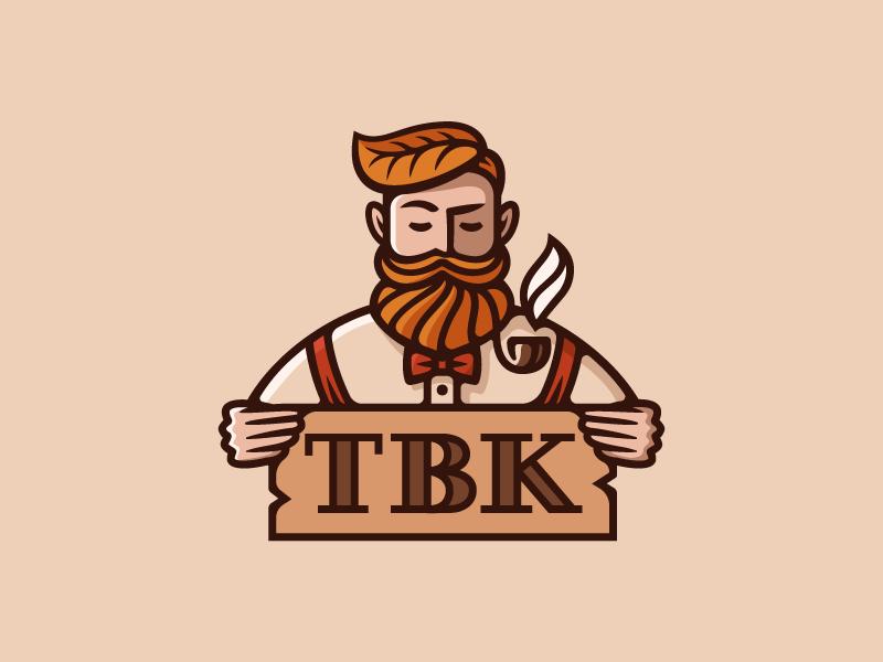 TBK leaf illustration logo smoke red pipe beard hipster character vintage man tobacco