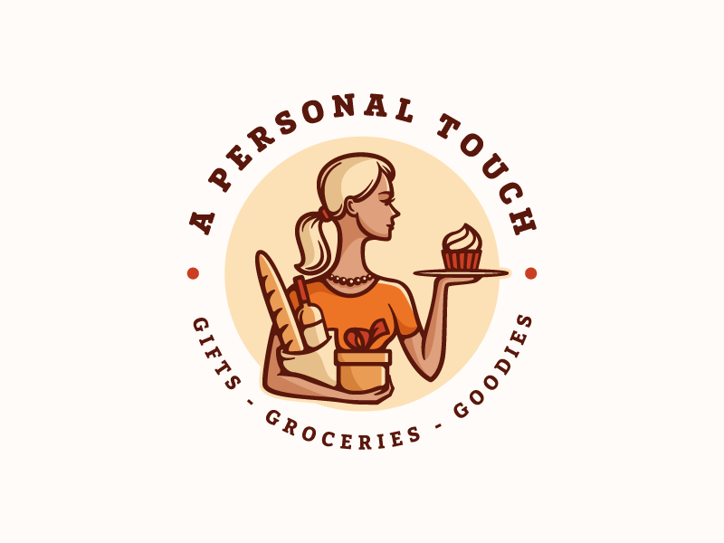 A Personal Touch character bread girl gift wine pancake service delivery logo