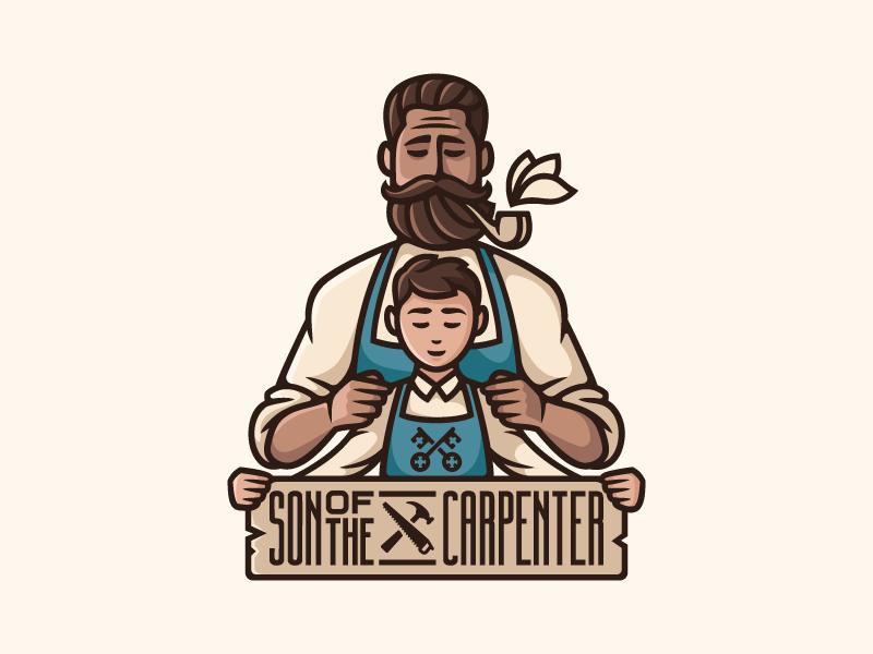 Son of the carpenter    mustache beard pipe flower family character saw hammer logo keys carpenter