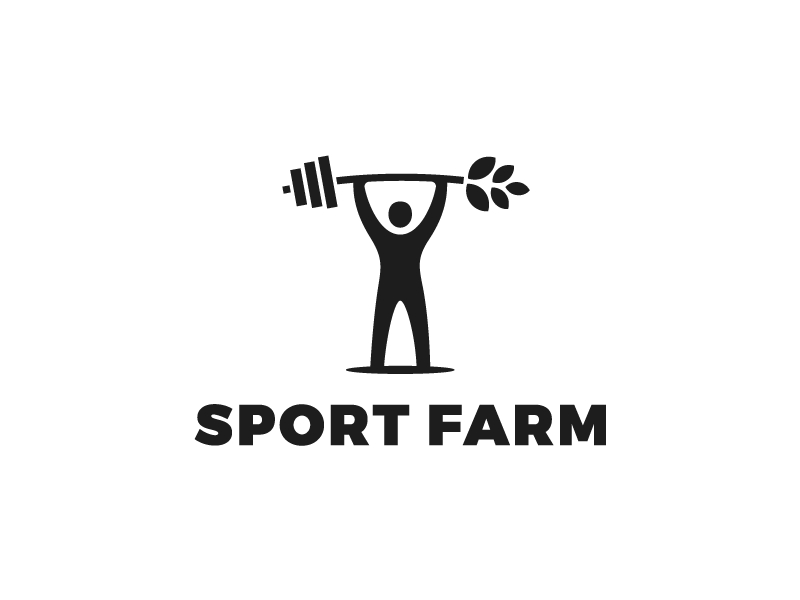Sport farm    food health bw man corn fitness gym farm sport minimal logo