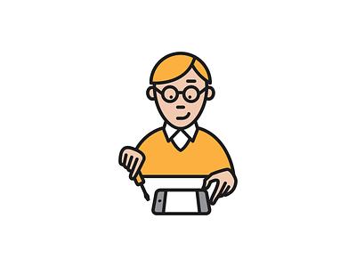 Pedant.ru gadget phone service geek man master repair logo