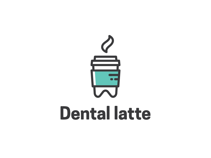 Dental latte minimal hot outline cafe coffee latte dental logo