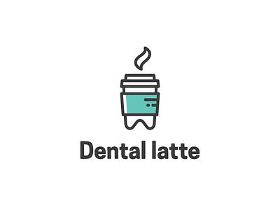 Dental latte minimal hot outline cafe coffee latte dental logo