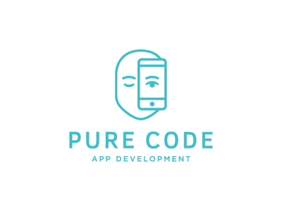 Pure code icon phone eye development face outline pure web app code logo