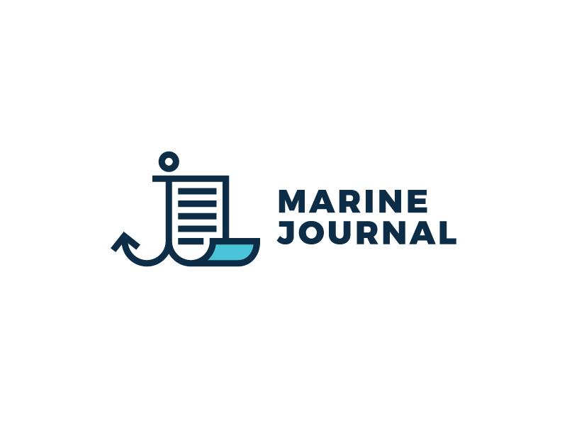 Marine journal minimal outline blog journal anchor document text sea marine logo