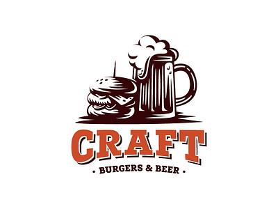 Craft burgers & beer retro vintage pub food grill beef burger craft beer template logo