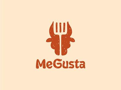MeGusta food restaurant cuisine hot red shovel bull spanish beaf symbol sign logo