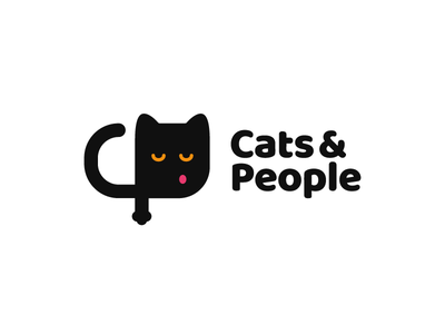 Cats & People pet animal monogram black people cat logo