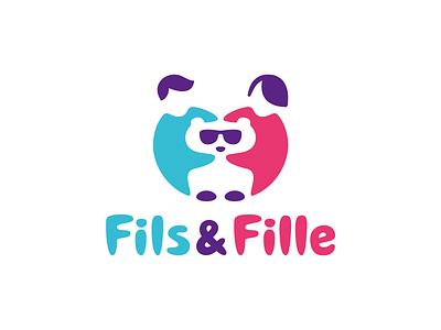 Fils & Fille type fashion wear bear negativespace children kids fille fils concept logo