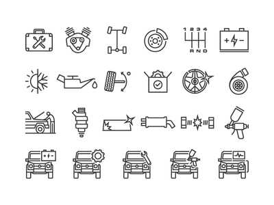 Car service icons set minimal repair service car outline styleframe set symbol vector icons