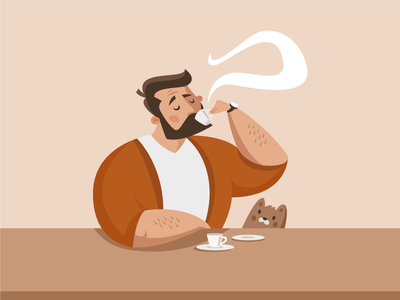 Good morning! styleframe man cute cat flat espresso coffee mascot character vector illustration