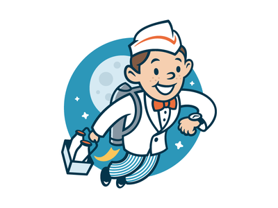 OPIE jetpack boy character vintage retro space grocery milkman milk bottle mascot