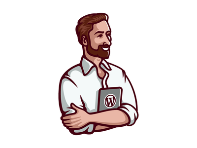 Personal logo guy hipster mascot beard programmer man character illustration logo