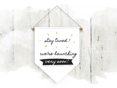 Coming Soon for Hand-crafted Joy Wordpress Template watercolor pennant maintenance bright wood wall hanging banner stay tuned coming soon