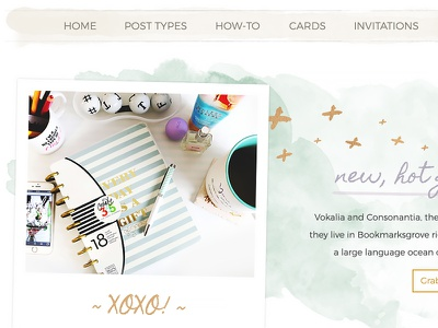Alternate Banner for Hand-crafted Joy Wordpress Template hero section colorful texture menu xoxo polaroid watercolor bright slider banner