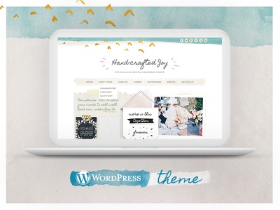 Hand-crafted Joy Wordpress Theme Goes Live! theme feminine watercolor homepage template wordpress hand-crafted