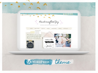 Hand-crafted Joy Wordpress Theme Goes Live! theme feminine watercolor homepage template wordpress hand-crafted
