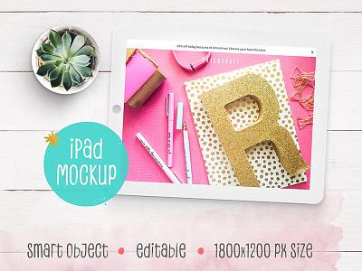 iPad Mockup with succulent feminine girly bright pink flower succulent mockup tablet ipad