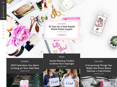 Femme Mini WordPress Blog Layout wip black pink feminine girly banner hero layout template wordpress