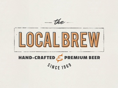 Local Brew Vintage Logo shift textured brewery logo retro vintage brew