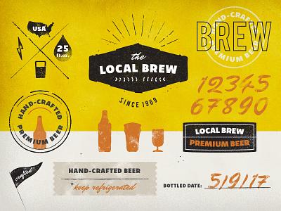 Vintage Logos & Badges Set: Local Brew distorted hand-crafted brewery brew badge logo retro vintage